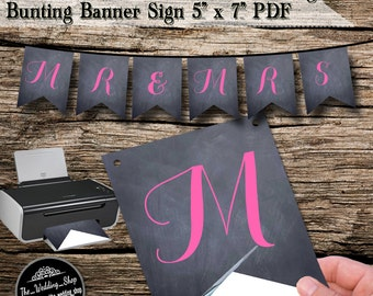 "Instant Download- Printable DIY Chalkboard Wedding Bunting Banner With Pink Lettering 5"" x 7"" PDF"