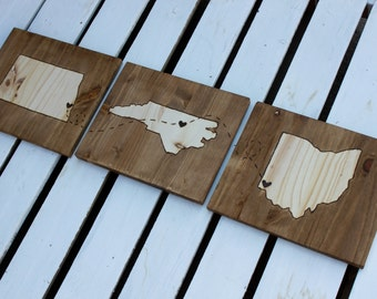 Wood Stain States with Hearts and Bee Line