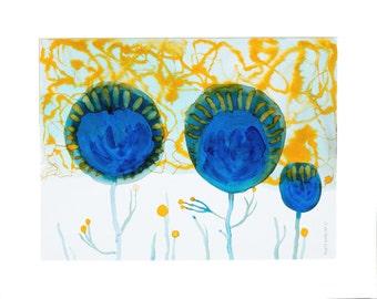 30 x 40 cm landschaft blumen wiese sommer blau ocker cobalt