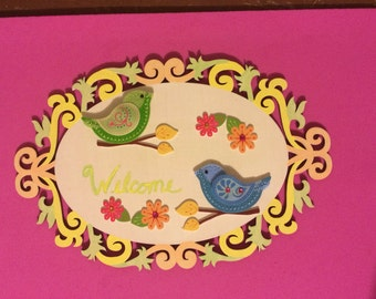 Welcome Bird Door Hanger    FREE Shipping