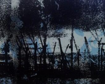 "Crane site 2, handmade silkscreen print, 1 of 1, size 5"" x 5"""