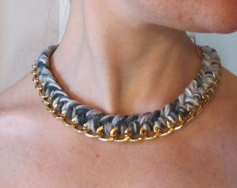 Necklace with chain and cotton/wool or artificial suede.