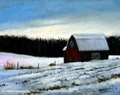 Classic Farm Landscape Oil Painting, 7 x 9 inches, Barn in the snow by Christopher Shellhammer.