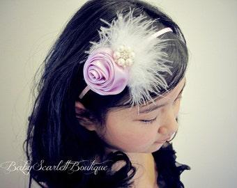 Light Purple/Lavender Rosette Girl Headband,Toddler Headband
