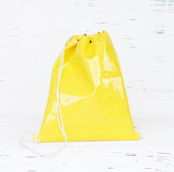 Drawstring Backpack. Summer Beach Sack in  Yellow Patent Leather. Urban Style. Cinch Bag for Men,  Women & teens