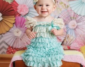 Aqua and cream lace petti dress - vintage lace dress  - flower girl dress - cream flower girl dress - cream lace petti dress