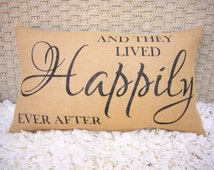 And they lived happily ever after - Wedding Gift - Anniversary Gift - Burlap pillow - Wedding Pillow