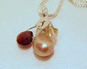Personalized Garnet Pearl Crystal Initial Autumn Color Silver Necklace
