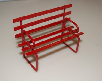 Dollhouse Red Metal Bench