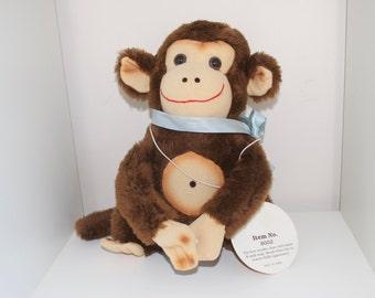 Vintage Wise Monkey Stuffed Velcro Plush Animal