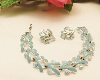 Coro Silver Tone  Blue Bracelet and Earring Jewelry Set
