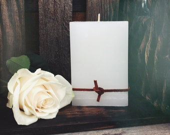 Gorgeous White 3 x 4.5 square candle in a Coconut/Pineapple scent