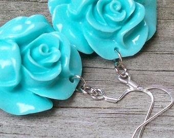 Mina - Charming 30mm Round Aqua Blue Flower Beaded Dangle Silver Fish Hook Earrings