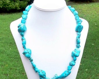 Briia - Chunky Long Turquoise Freeform Nugget Gemstone Beaded Necklace