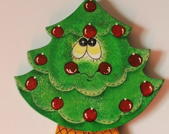 Tole Painted Wood Tree Ornament