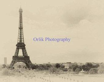Eiffel Tower, old photo, vintage 2 sepia
