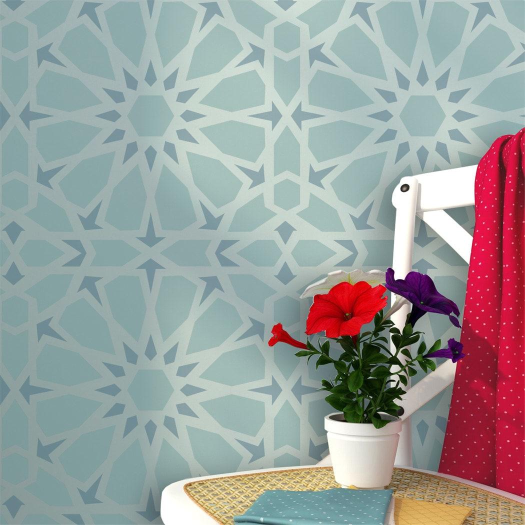 Zelij moroccan wall stencils reusable template for diy decor zoom amipublicfo Images