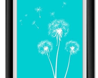 INSTANT DOWNLOAD Turquoise Blue White Dandelion Printable Art Digital Print Wall Decor Bathroom Bedroom Custom Modern Miminimalist Flower