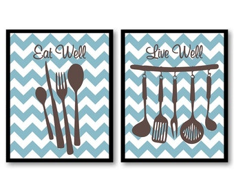 INSTANT DOWNLOAD Blue Brown Kitchen Wall Decor Set of 2 Print Printable Home Decor Art Print Food Kitchen