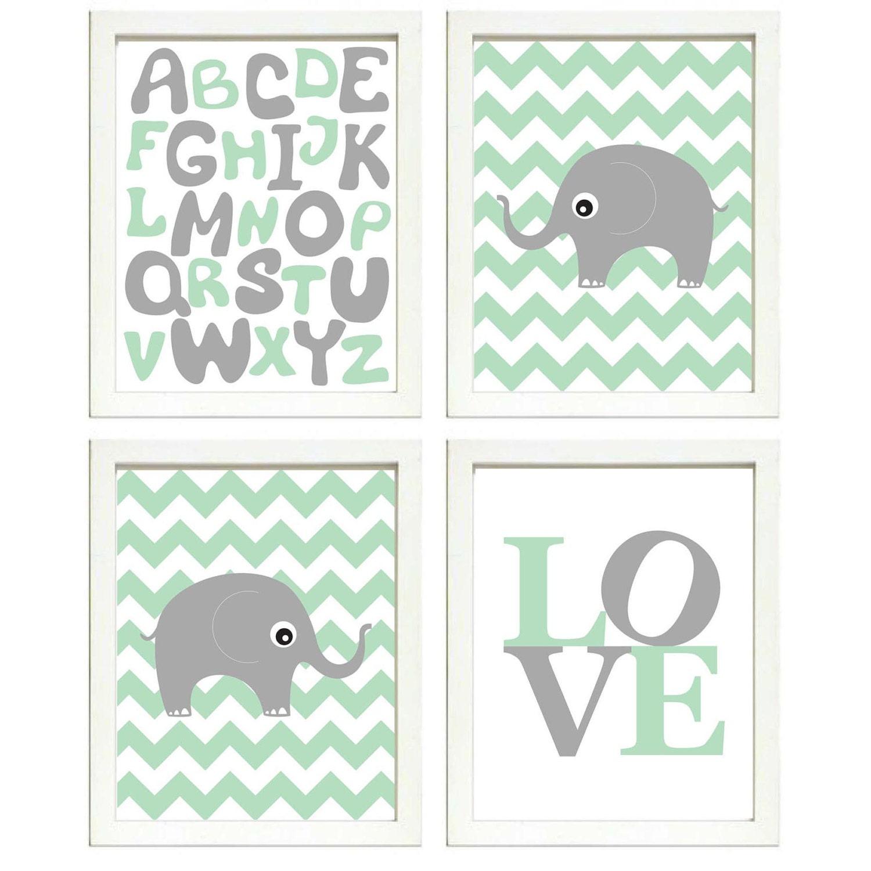 Instant Download Mint Green Grey Elephant Nursery Art