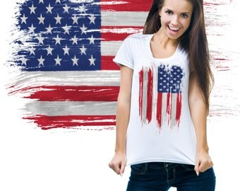 USA  Distressed Flag Stylish Ladies 4th July Ladies T-shirt Tee Shirt