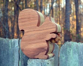 Red Oak / Poplar Wood Squirrel Bank with Acorn Plug