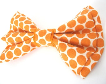 Orange Polka Dot Dog Bowtie / Small Medium Large Removable Bow Tie with Velcro