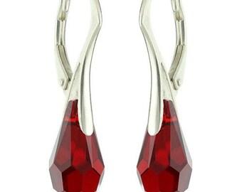 925 Sterling Silver Chandelier / Teardrop Swarovski Crystal Leverback Earrings