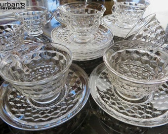 American Clear by Fostoria, Cups and Saucers, set of 10 (12-0167)