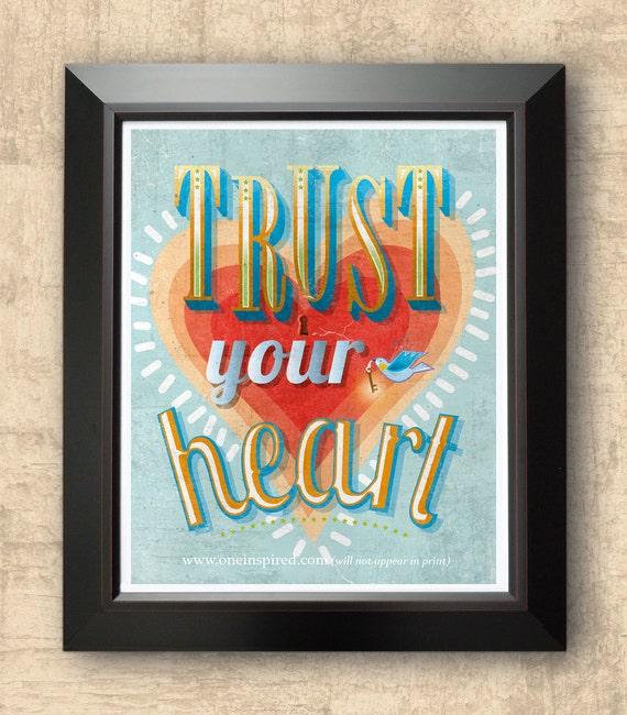 Items Similar To TRUST Your Heart, Inspirational Art