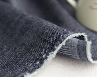 Chambray Cotton Fabric Charcoal Navy By The Yard