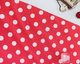 Waterproof Fabric Polka Dot on Red By The Yard