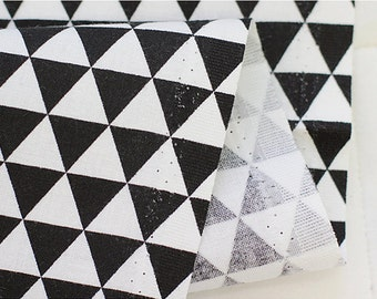 "Cotton Fabric 0.66"" (1.7 cm) Mini Triangle Black"