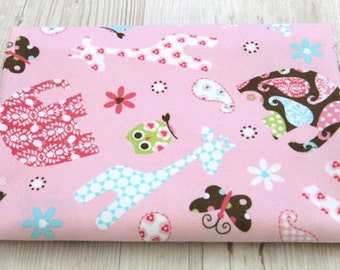 Flannel Cotton Fabric with Cute Animals By The Yard