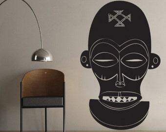 African Skull Sculpture Wall Vinyl Decal