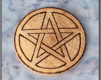 Small Wooden Nickel Pentagram Pentacle for Wicca Pagan Use Blessed Be Woodburned