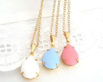 Pastel Teardrop Necklace, Powder Blue, Powder Pink, Opaque White, Vintage Glass Drop Pendant