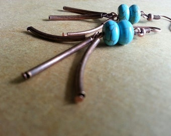 Earrings - Copper Tube and Turquoise Bead