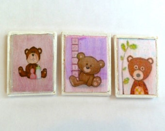 nursery wall art - 3 bear prints dollhouse miniature.