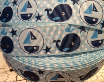 """3 yards 1""""  NAUTICAL Whale and Boat Blue and White Grosgrain Ribbon sold by the yard"""