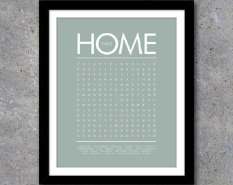 THIS HOME Word Search Modern Wall Art – Printable Digital File – Birthday Gift – Interactive – Gift – House Warming Gift – Wedding Gift