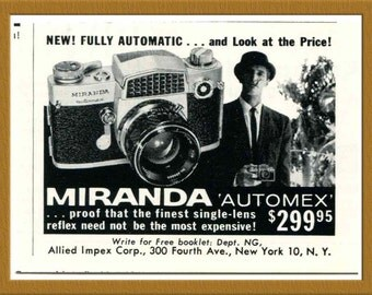 "1960 Miranda Automex Camera B&W Print AD / 35mm Film SLR Camera / 3 1/8"" x 2 1/4"" / Original Print Ad / Buy 2 ads Get 1 FREEA"