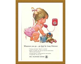 """1960 Bell Telephone System Color Print AD / Wherever you go... go first by Long Distance / 6"""" x 9"""" / Original Ad / Buy 2 ads Get 1 FREE"""