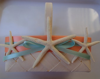 Starfish Beach Flower Girl Basket - Beach Wedding  - Starfish - Hawaii - Blue - Beach - Rustic - Tropical - Seafoam - Coral