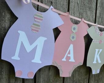 Pink, Purple and Gray Banner, Girl Baby Shower Banner,  Baby Shower Banner, Baby Girl Nursery Banner, Onesie Banne, Gender Reveal Banner