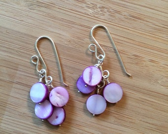 handmade purple shell coin dangle earrings
