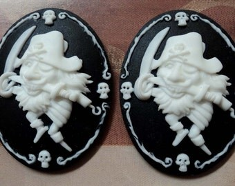 40x30 peg leg pirate saber cameos white on black 2 pieces