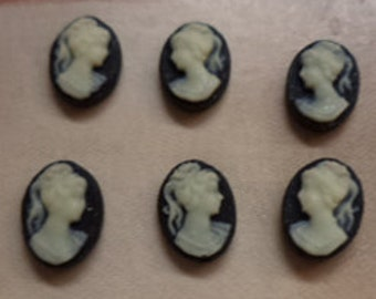 8mm x 6mm resin cameo lady profile ponytail ivory on black 3 left 3 right