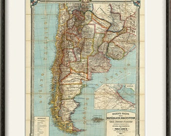 USA Map Print American Map Vintage Map Print Old Map Antique - Argentina map to print