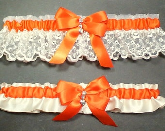 Wedding Garter Set Orange on Ivory or White, Orange Bow with Rhinestone and Hearts Charm~ Allison Line (May also be purchased individually)